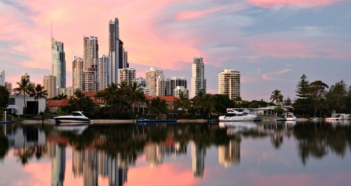 Surfers Paradise skyline at dawn is a must see on all Australian tours.