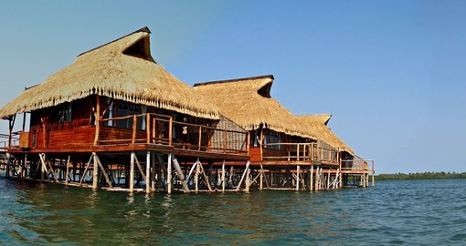 Holiday chalets in the Inhambane Lagoon, Mozambique