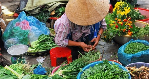 Vietnamese saleswoman at the market
