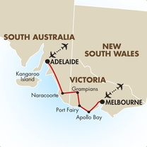 Melbourne to Adelaide map
