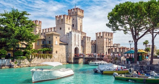 On the banks of Lake Garda, Sirmione is know for Rocca Scaligera, a medieval castle