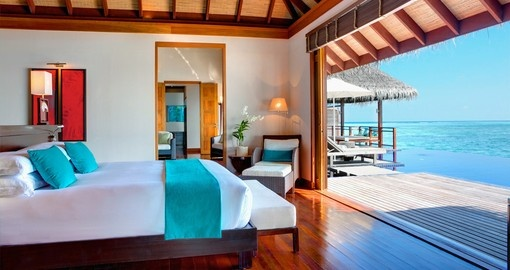 Enjoy the combination of luxury and ocean views while staying in the Presidential Villa at LUX on your Trip to Maldives