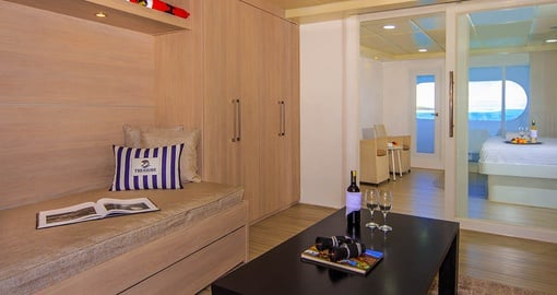 Enjoy the romance of the Matrimonial Suite on your trip to the Galapagos