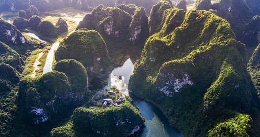 Aerial view of Trang An, a UNESCO World Heritage Site not far from Hanoi