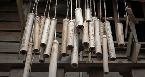 Wishes written on old bamboo sticks