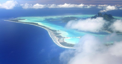 Pacific Island Bora Bora hidden by the clouds