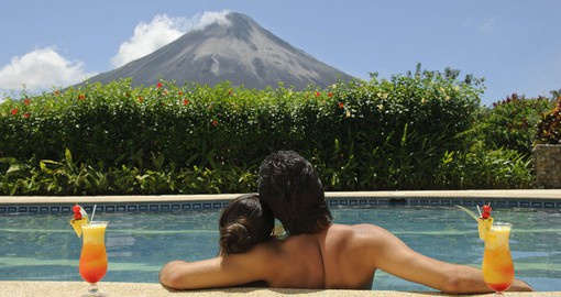 Relaxing in the shadow of the Arenal Volcano
