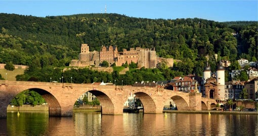 The red-sandstone ruins of Heidelberg Castle, a noted example of Renaissance architecture, stand on Königstuhl hill