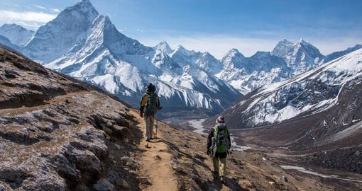Trekkers make their way to the famous Mount Everest and enjoy the high altitude climb on their Nepal Tours