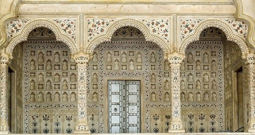 The exotic arches inside the Agra Fort India