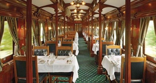Enjoy the luxurious Rovos Rail journey between Cape Town and Pretoria on your South African vacation