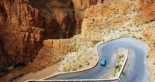 Experience the winding roads in Dades Valley while on Atlas Mountain tours.