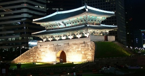Sungnyemun Gate is a popular photo opportunity while on your Korea vacation - especially at night.