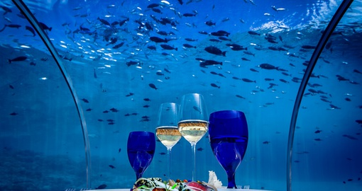Dining at Hurawalhi's 5.8 Undersea Restaurant