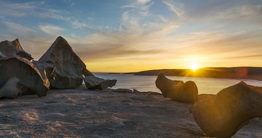 Enjoy remarkable Rocks against the sunset on Kangaroo Island on your next vacation to Australia.