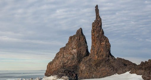 Cape Tegetthoff on Hall Island was the first piece of land seen by the discoverers of the Franz Josef Land archipelago