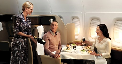 Couple first class flight