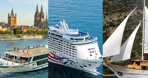 split image of 3 different styles of cruises