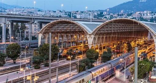 Nice Railway Station at night, France