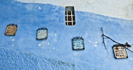 Blue shaded city streets of Chefchaouen, Morocco