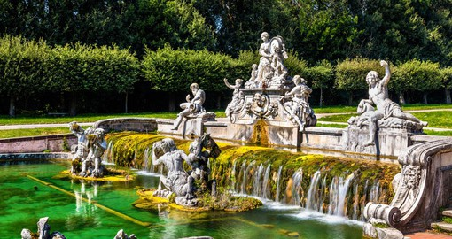 The largest palace erected in Europe, the Royal Palace of Caserta is surrounded by gardens and foutains
