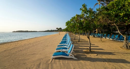 Long stretch of beach at Nusa Dua beach hotel and spa