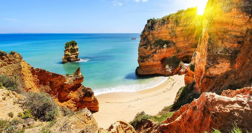 Soaring cliffs, sea caves and golden beaches of the Algarve