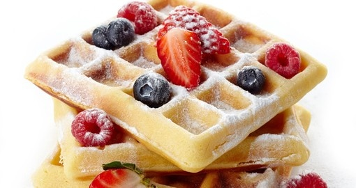 Belgium waffles with fresh berries