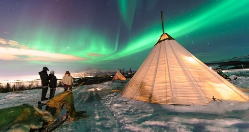 Traditional sami tents in Troms region