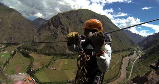 Zip line to and from your Sky Lodge during your Peru tour.