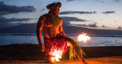 Traditional fire dancing in Maui