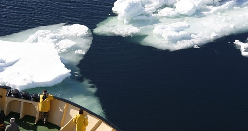 Stand on the edge of your ship as it tears through the frozen waters of the Arctic on your Arctic Vacation