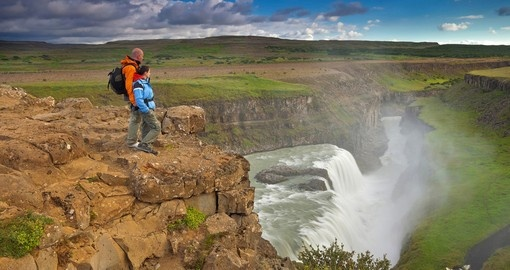 Hiking over Gullfoss Waterfall