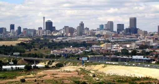 The skyline of Johannesburg is always a great photo opportunity on all South african tours.