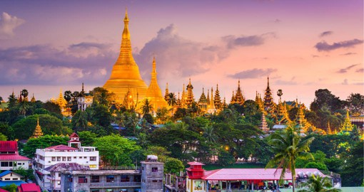 Shwedagon Paya, the golden Budhist monument is at the centre of Yangon, Myanmar's largest  city