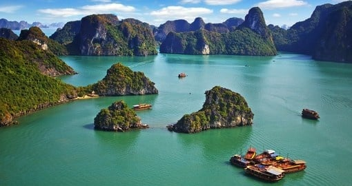 Halong Bay is a Unesco World Heritage Site and is a must inclusion when booking a Vietnam vacation.