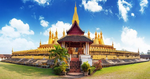 The large golden stupa in Vientiane is believed to enshrine a breast bone of the Buddha