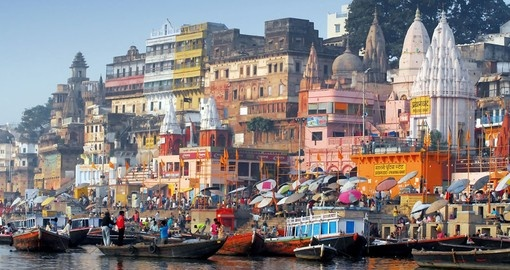 The colorful main ghat is a major attraction on all India vacations.