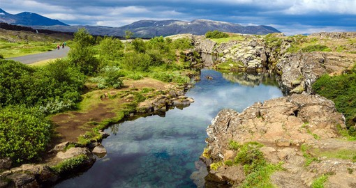 Thingvellir National Park sits atop the the divide between the Eurasian and North American continental plates