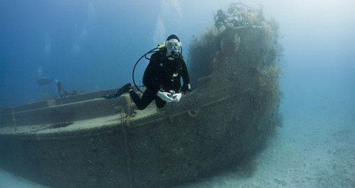 Diver over the Prince Albert wreck