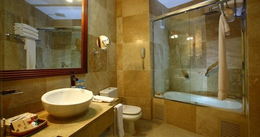 Lounge in the spacious bathrooms during your Peruvian Vacation.