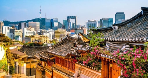 Dating back almost 600 years, Bukchon Hanok Village, features hanok or Korean traditional houses