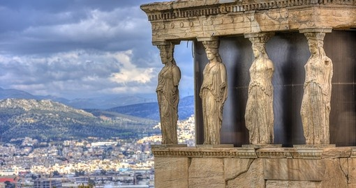 Caryatids in Erechtheum from the Athenian Acropolis
