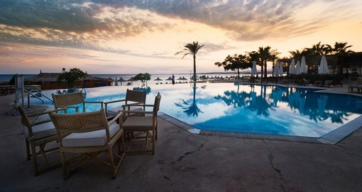 Sunset and swimming pool at Sharm el Sheikh