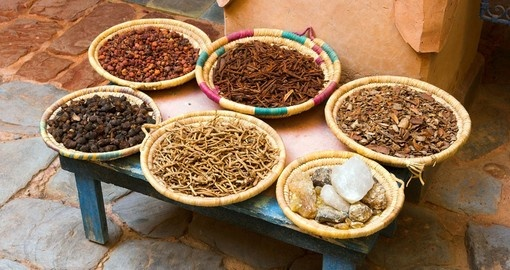 Cooking and health spices for sale in the market  - commonly seen on Agadir tours.