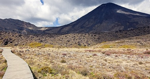 Hike the trails in Tongariro National Park on your New Zealand vacation