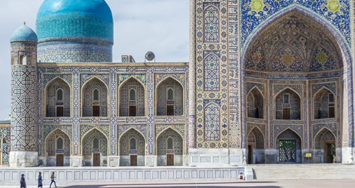Tilya-kori Madrasah on Registan square in Samarkand, Uzbekistan