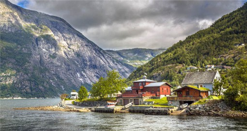 Eidfjord is dwarfed by mountains and waterfalls and is one of the most beautiful towns in Norway