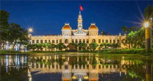 Your Vietnam vacation package begins in Ho Chi Minh City with a visit to the Peoples Committee Head Office