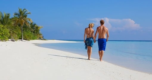 Stroll along the white sand beaches of Kuredu Island Resort and enjoy your Maldives Vacation